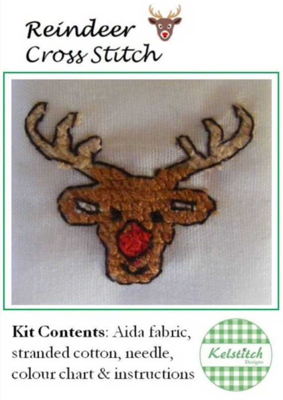 Cross stitch kit - Reindeer cross stitch kit -  kids cross stitch kit - DIY beginners cross stitch kit - Christmas - paper free version