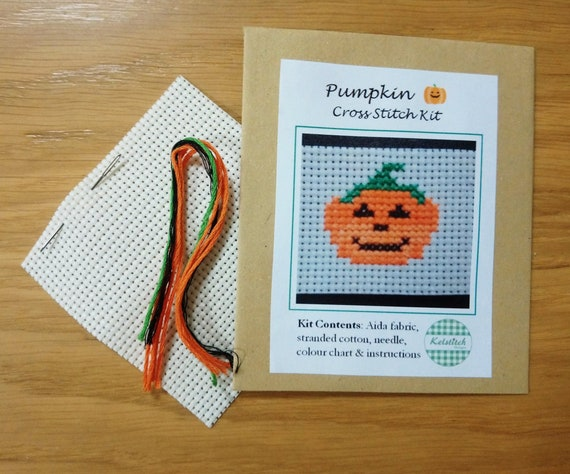 Cross stitch kit - Pumpkin hearts cross stitch kit - Halloween cross stitch kit - kids cross stitch kit - DIY beginners cross stitch kit