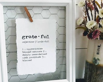 grateful definition print in typewriter font on 5x7 or 8x10 handmade cotton paper, home decor, thanksgiving host, housewarming, thank you