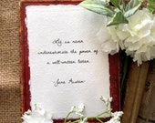 Let us never underestimate the power of a well-written letter Jane Austen quote in script font on 5x7 or 8x10 handmade paper, writing desk