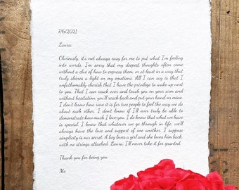 custom love letter print on handmade paper in 5x7 or 8x10 size, paper or cotton anniversary gift, wedding, marry me speech, gift for spouse