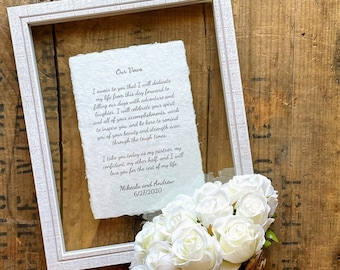 8x10 rustic white wood glass float frame add on for 5x7 or 8x10 print, hanger on back, Mother's day, birthday gift, framed wedding vows