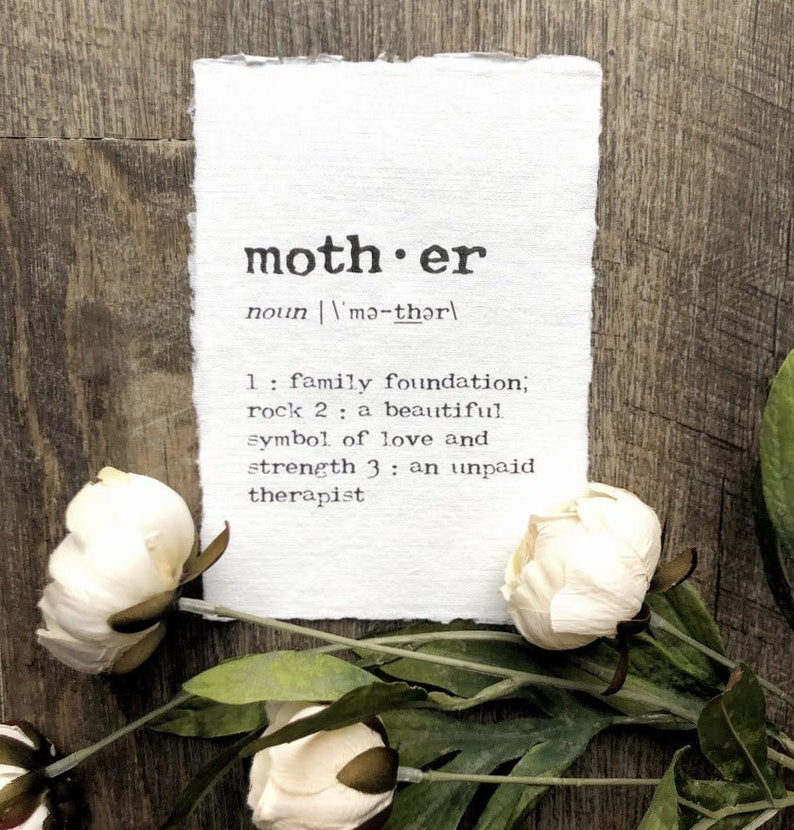 mother definition print in typewriter font on 5x7 or 8x10 image 0