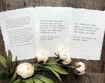 custom eulogy, last words, grief or love poem print on handmade paper in 5x7 or 8x10 size, remembrance gift, memorial decor, eulogy keepsake