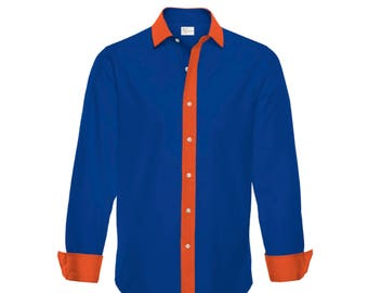 946f9af1798 Orange and Blue Shirt | Mens Dress Shirt | Long Sleeved Gameday Shirt |  Gift for Sports Fan | Football Fan Shirt | Florida Gators Shirt