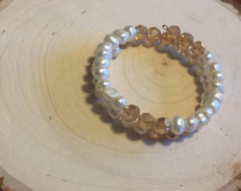 Cream and Champagne Bracelet