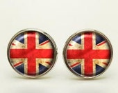 UK Flag Cufflinks, UK Flag Tie Clip, UK Flag Cuff Links, Union Jack Flag Cufflinks, Union Jack Flag Tie Clip