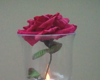 single red rose, paper roses, paper rose, red rose, paper flower centrepiece, paper flower decor, paper flower home decor, paper homedecor,