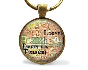 Paris street map keychain, Louvre, Jardin des Tuileries key ring, Paris souvenir key chain, bronze keychain.