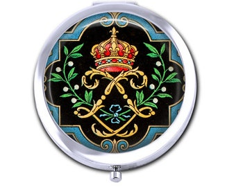 Crown pocket mirror, French fleur de lis compact mirror, vintage crown crest image, teacher gift for her, purse mirror.