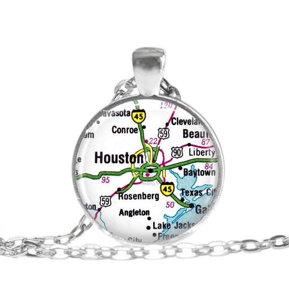Houston map keychain OR vintage Houston map necklace Conroe | Etsy