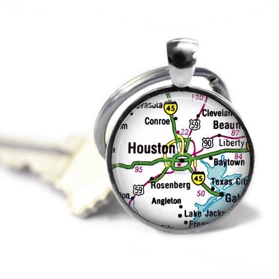 Houston map keychain or necklace, vintage Houston map, Conroe Texas key  ring, groomsman gift, Houston groomsman gift, Texas travel gift him.