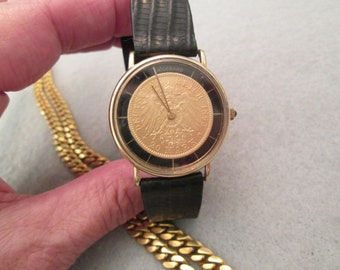 b6812e7c841e Vintage Solid Gold 1895 COIN WATCH made by the Wideband Comp.  20 dollar  gold Deutsches Mark  Black Lizard Band Unisex  Excellent Condition