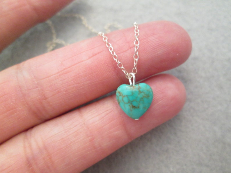 9a1b17688806b Gorgeous Dainty Tiny Genuine TURQUOISE HEART Necklace>Sterling Silver  Chain>Absolutely Beautiful