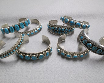 8 Gorgeous Navajo Old Pawn Sterling Silver & GENUINE Sleeping Beauty TURQUOISE Cuffs> Choose Your Favorite> Unisex> Varying Sizes>-JNB151