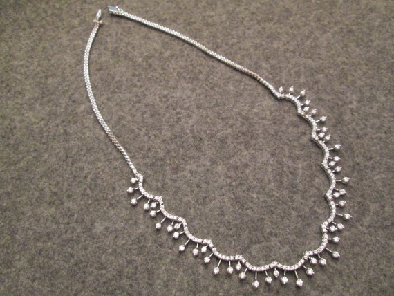 never worn Elegant Vintage STERLING Silver and CZ Necklace Luxurious Exquisite New old stock Simple