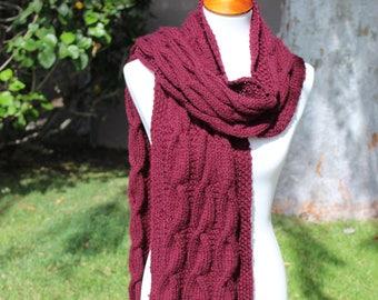 Long Knit Scarf, Chunky Knit