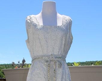 VTG 1950's White and Gold Sequin Dress, Formal Dress
