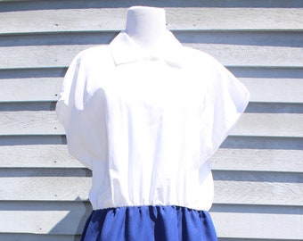 VTG 1950's White and Blue Work Dress, Casual, Simple Dress