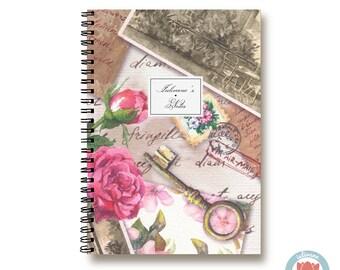 Bullet Journal Notebook Journal Sketchbook - Romantic Desk Key Roses - Dotted Lined Blank - Custom Notebook - Custom 1N