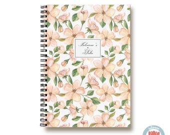 Bullet Journal Notebook Journal Sketchbook - Romantic Orange Flowers - Dotted Lined Blank - Custom Notebook - Custom 1N