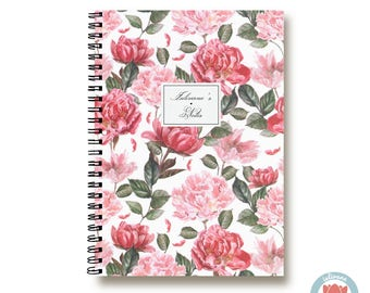 Bullet Journal Notebook Journal Sketchbook - Romantic Pink and Red Wild Roses - Dotted Lined Blank - Custom Notebook - Custom 1N