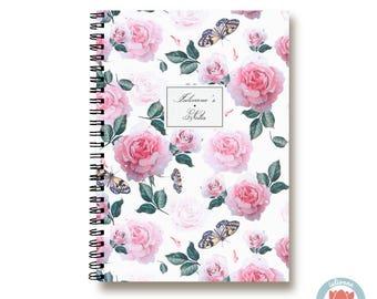 Bullet Journal Notebook Journal Sketchbook - Romantic Pink Roses and Butterflies - Dotted Lined Blank - Custom Notebook - Custom 1N