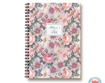 Bullet Journal Notebook Journal Sketchbook - Romantic Pink Flowers - Dotted Lined Blank - Custom Notebook - Custom 1N