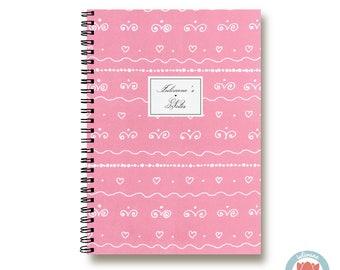 Bullet Journal Notebook Journal Sketchbook - Romantic Pink Curls - Dotted Lined Blank - Custom Notebook - Custom 1N