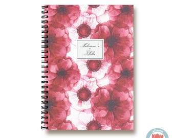 Bullet Journal Notebook Journal Sketchbook - Dramatic Red and White Flowers - Dotted Lined Blank - Custom Notebook - Custom 1N