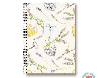 Bullet Journal Notebook Journal Sketchbook - Romantic Keys, Hearts and Lavender - Dotted Lined Blank - Custom Notebook - Custom 1N