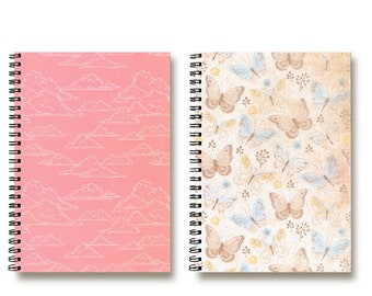 Bullet Journal Notebook - Custom Notebook - Spiral Notebook - Travel - Planner - Butterflies in the Clouds - Lined | Dotted | Blank - 2N