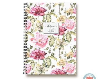 Bullet Journal Notebook Journal Sketchbook - Pink and Red Wild Roses - Dotted Lined Blank - Custom Notebook - Custom 1N