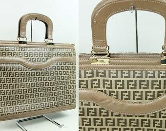 e77aa8f3374a FENDI Monogram Canvas Nylon Leather Portfolio Briefcase Attache Handbag  Purse