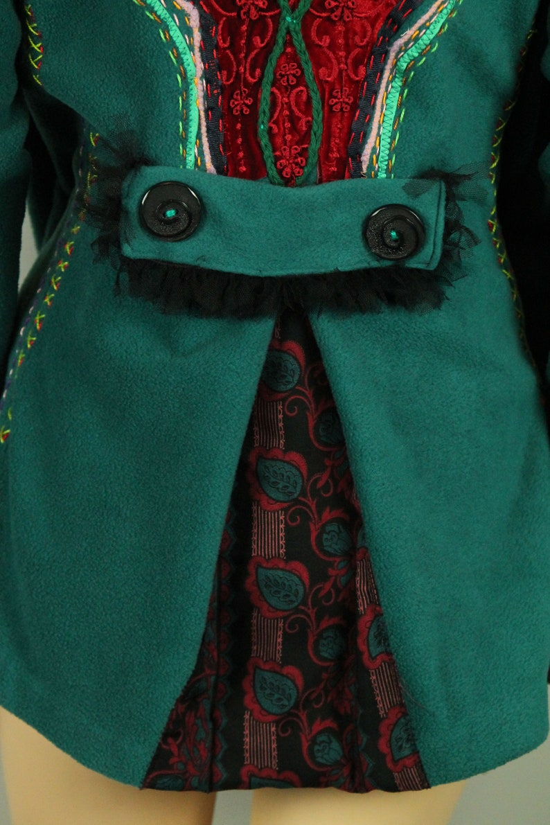 UpCycled Hand Made Green Fleece Ethnic Art To Wear Vintage Lace Applique Embroidered Jacket Blazer L