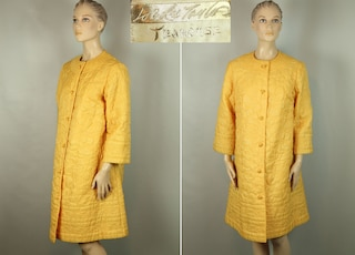 Rare Vintage 50s LORD & TAYLOR TEAHOUSE Rare Yellow Quilted Long Lounge Dress House Coat Robe