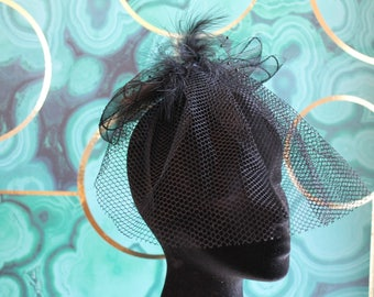 Vintage decorative black headband with feathers and veil