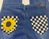 Hand Painted Checkered Sunflower Jeans (Size 7)