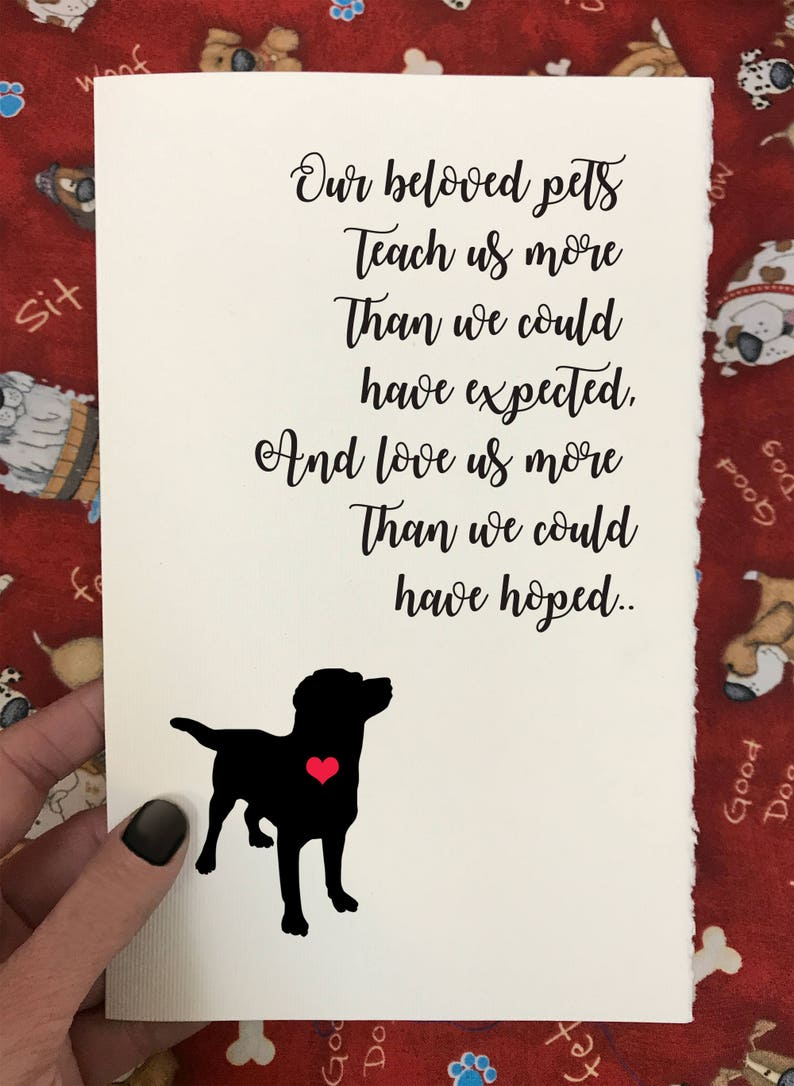 Dog Loss and Sympathy Cards Our Beloved Pets Enrich Our Lives