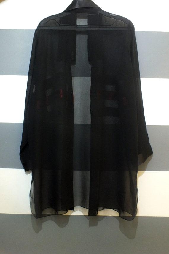 Transparent blouse, 80s blouse, Black transparent… - image 3