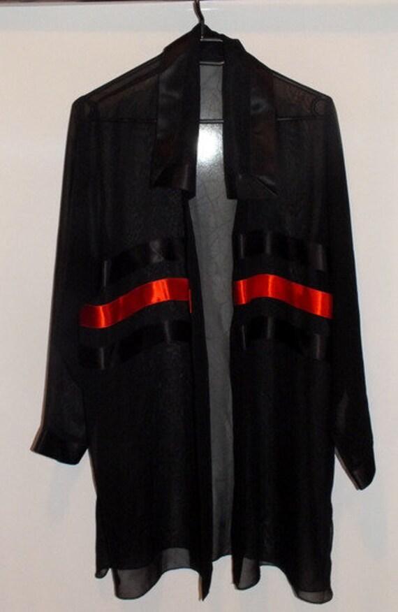Transparent blouse, 80s blouse, Black transparent… - image 4