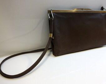 Vintage Leather Evening Bag / Vintage Elegant Leather Purse / Vintage Evening Leather Clutch