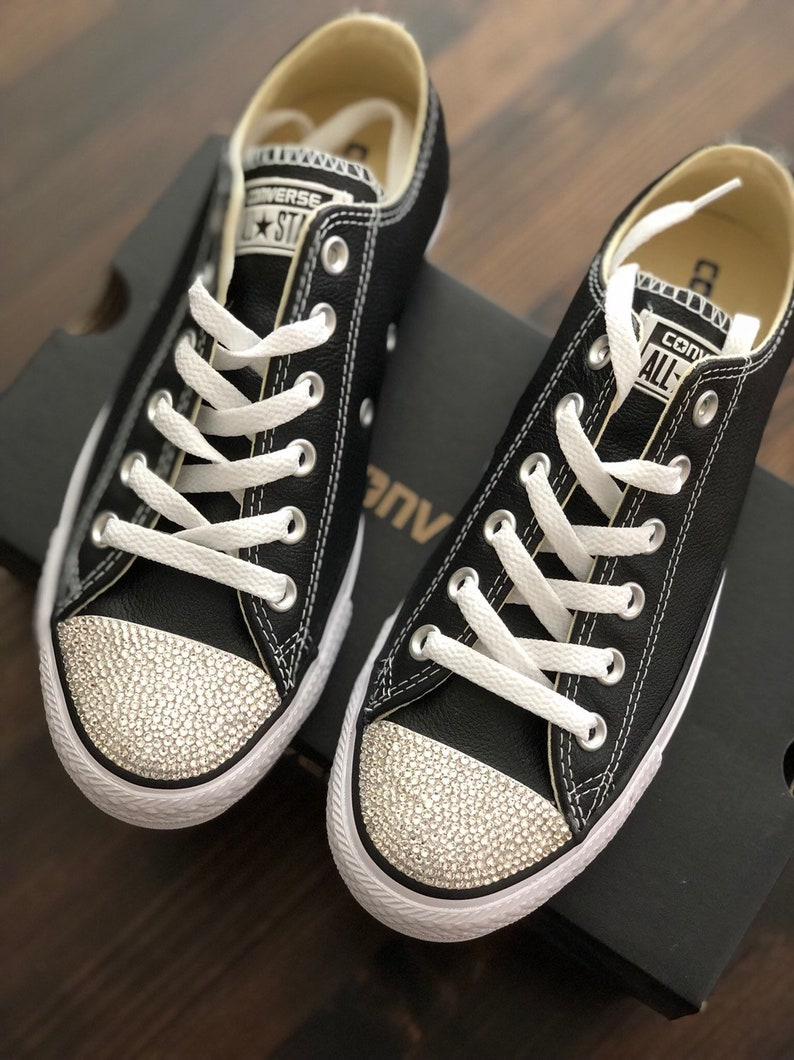 9607e40c5626 Converse® Womens All star Leather Shoes Custom Bling with