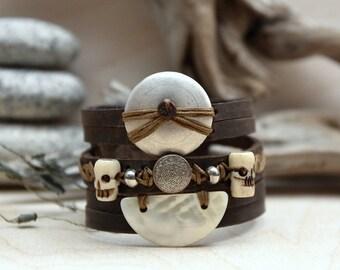 Pirate bracelet hand - made leather handmade bracelet - RuskCuir pirate