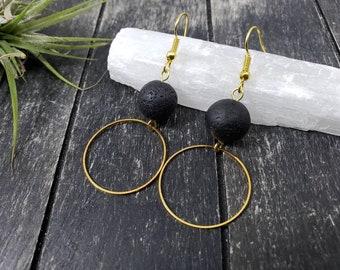 Minimalist jewelry  Black earrings lava