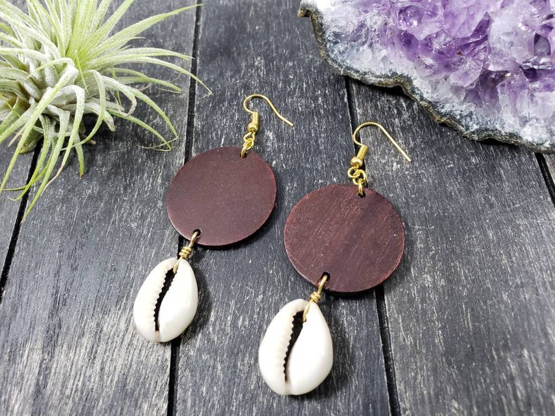 Cowrie Shell Earrings With Big Wooden Disc Wood And Shell Earrings Natural Seashell Earrings With Wood Circle Wooden Shell Dangle Earring
