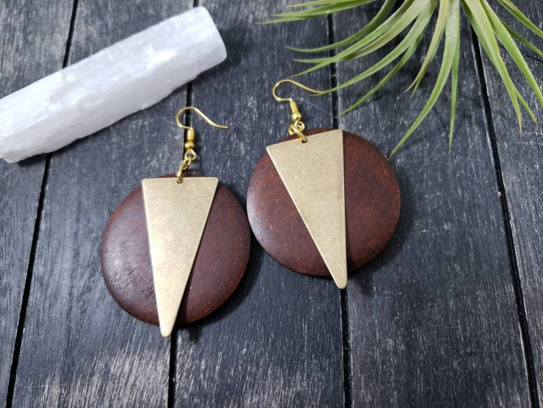 Huge Wooden Statement Earrings Big Wood Disc And Brass Triangle Dangle Earrings Geometric Wood And Brass Earrings Large Wooden Earrings
