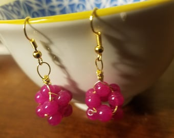 """Hot Pink """"Raspberries"""" Dyed Quartzite Wire-Wrapped Cluster Dangle Earrings (Stabilizing Properties)"""