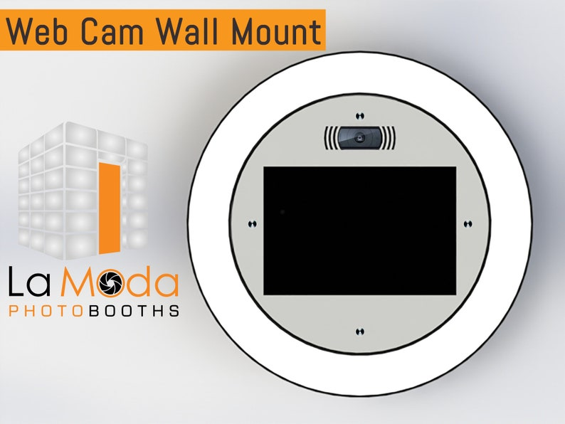 Wall Mounted WebCam White Face Photo Booth Made Of High Quality Aluminum   Perfect for permanent install or leases