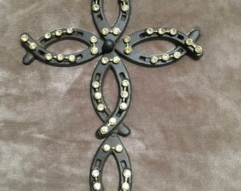 Rustic Horseshoe Cross accented with gold bling